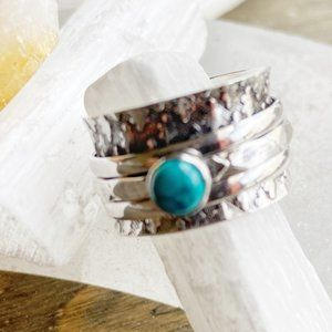 sterling silver turquoise spinner boho ring